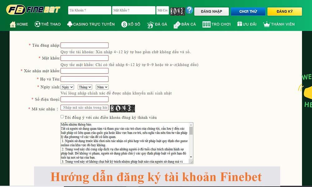 Hướng dẫn đăng ký tài khoản cá cược FineBet